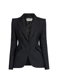 Alexander McQueen Pinstripe Peak Shield Blazer Jacket