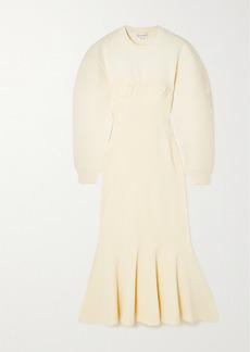 Alexander McQueen Pleated Paneled Wool-blend Midi Dress