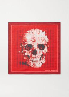Alexander McQueen Printed Cotton And Silk-blend Scarf