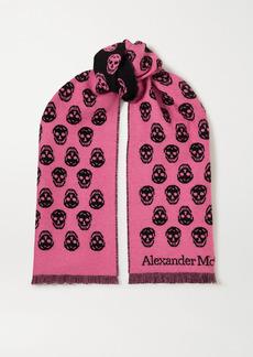 Alexander McQueen Reversible Fringed Intarsia Wool Scarf