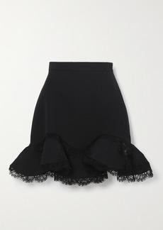 Alexander McQueen Ruffled Lace-trimmed Wool-blend Mini Skirt