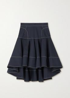Alexander McQueen Ruffled Topstitched Cotton-gabardine Skirt