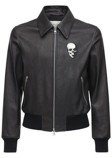 Alexander McQueen Skull Embroidery Leather Jacket