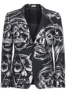 Alexander McQueen Skull Lurex Print Double Breasted Jacket