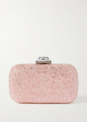Alexander McQueen Spider Faux Pearl And Crystal-embellished Suede Clutch
