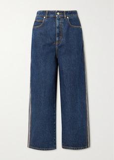 Alexander McQueen Striped High-rise Wide-leg Jeans