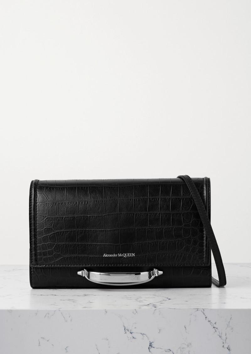 Alexander McQueen The Story Croc-effect Leather Shoulder Bag