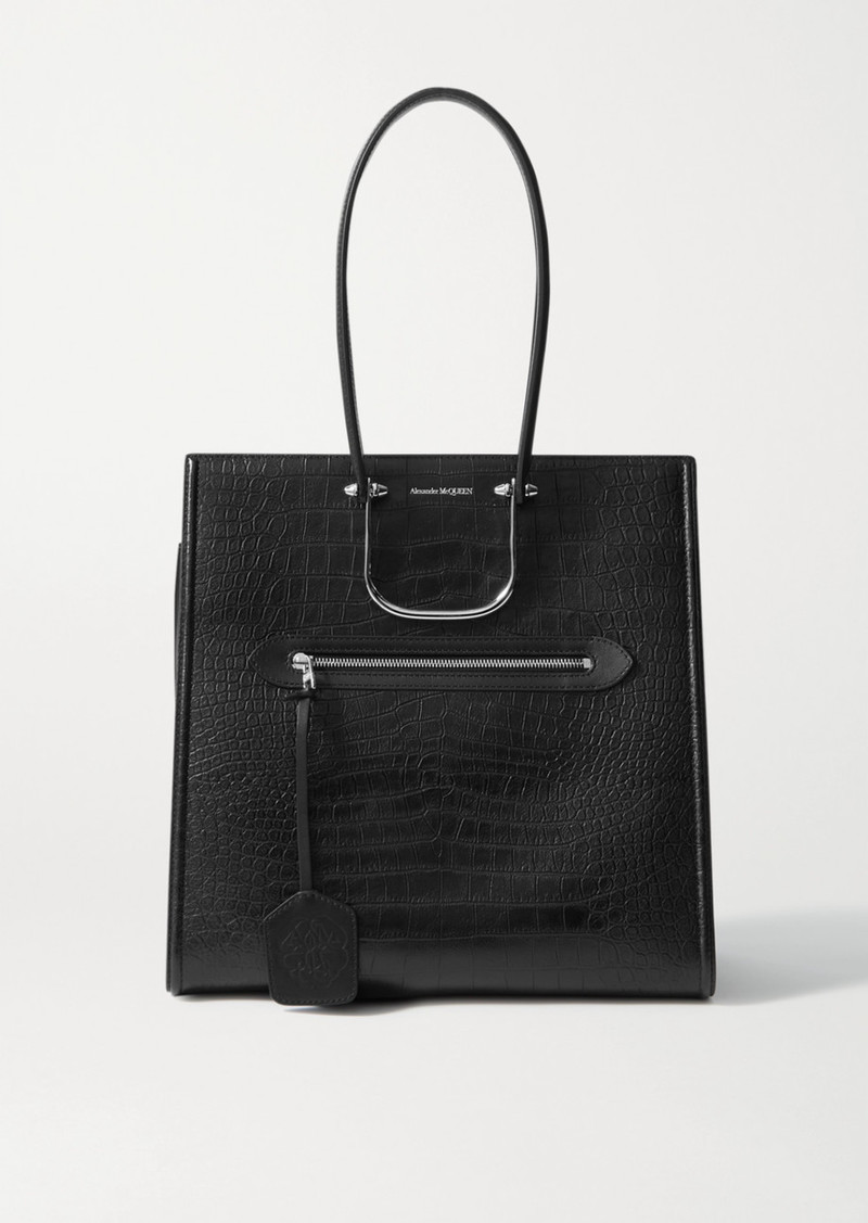 Alexander McQueen The Story Large Croc-effect Leather Tote