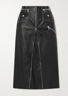 Alexander McQueen Zip-embellished Topstitched Leather Midi Skirt