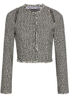 Alexander Wang Woman Cropped Zip-detailed Cotton-blend Tweed Jacket Black