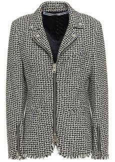 Alexander Wang Woman Frayed Cotton-blend Tweed Jacket Black