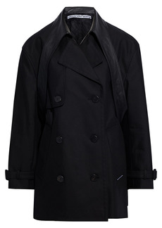 Alexander Wang Woman Leather-trimmed Cotton-blend Twill Trench Coat Black