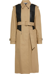 Alexander Wang Woman Ostrich-effect Leather-paneled Cotton-blend Twill Trench Coat Beige