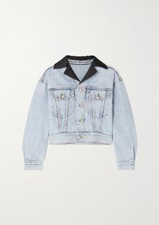 Alexander Wang Cropped Satin-trimmed Denim Jacket