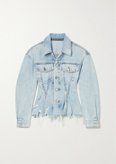 Alexander Wang Frayed Denim Peplum Jacket