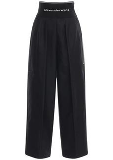 Alexander Wang High Waist Cotton & Nylon Logo Pants