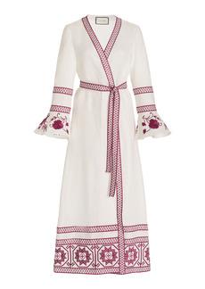 Alexis - Women's Mahita Embroidered Linen Maxi Robe Dress - Pink/blue - Moda Operandi