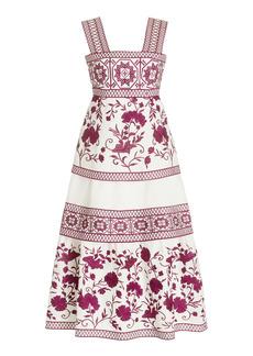 Alexis - Women's Verity Embroidered Linen Midi Dress  - Pink/blue - Moda Operandi