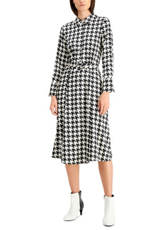 Alfani Houndstooth Button Down Midi Dress, Created for Macy's