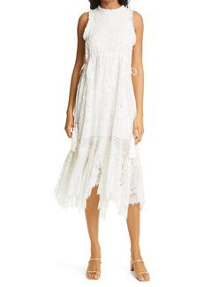 Alice + Olivia Angelyn Embroidered Sleeveless Midi Dress
