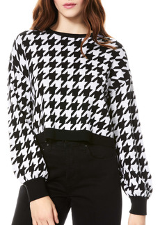 Alice + Olivia Ansley Houndstooth Wool Blend Crop Sweater