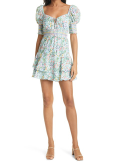 Alice + Olivia Crawford Floral Sweetheart Puff Sleeve Minidress