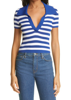 Alice + Olivia Daralee Stripe Fitted Polo Pullover Sweater