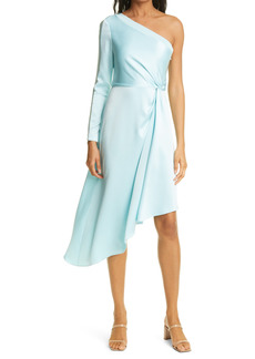 Alice + Olivia Dora Asymmetrical One-Shoulder Satin Dress