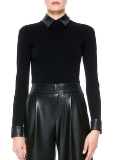 Alice + Olivia Dory Faux Leather Detail Sweater