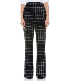 Alice + Olivia Dylan Check Cuffed Wide Leg Trousers