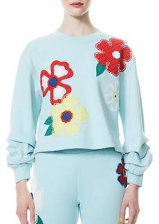 Alice + Olivia Gaia Embroidered Blouson Sleeve Sweatshirt