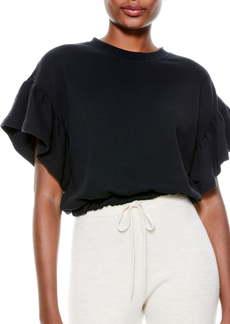 Alice + Olivia Joline Ruffle Short Sleeve Crop Sweatshirt