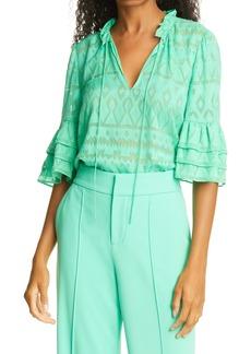 Alice + Olivia Julius Tier Sleeve Silk & Cotton Tunic Top