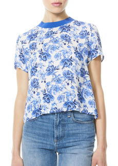 Alice + Olivia Kane Floral Print Back Zip Top
