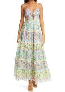 Alice + Olivia Karolina Floral Tiered Cotton Maxi Dress