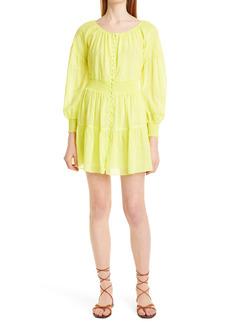 Alice + Olivia Kiara Smocked Long Sleeve Button Front Dress