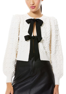 Alice + Olivia Kitty Bow Front Bobble Crop Cardigan