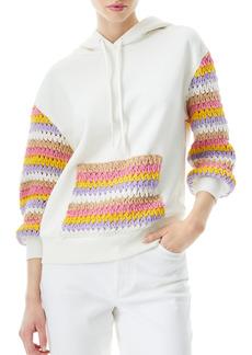 Alice + Olivia Nisa Crochet Detail Hooded Sweatshirt