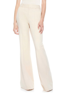 Alice + Olivia Paula Pintuck Slit Hem Wide Leg Wool Blend Pants