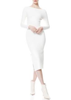 Alice + Olivia Rochelle Zip Slit Long Sleeve Midi Dress