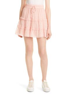 Alice + Olivia Tiered Ruffle Jacquard Silk & Cotton Miniskirt