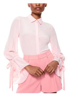 Alice + Olivia Willa Ruffle Cuff Silk Button-Up Blouse