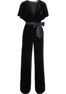 Alice + Olivia Woman Breanna Wrap-effect Satin-trimmed Velvet Jumpsuit Black