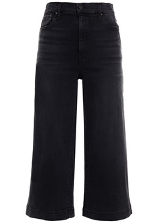 Alice + Olivia Woman Cropped High-rise Wide-leg Jeans Black