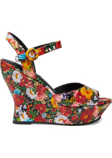 Alice + Olivia Woman Jana Floral-print Leather Wedge Sandals Red