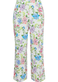 Alice + Olivia Woman Lorinda Cropped Floral-print Crepe Straight-leg Pants White