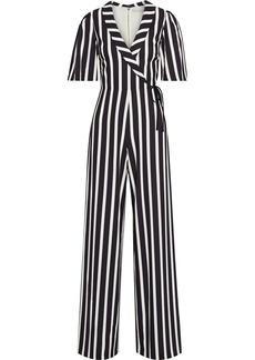 Alice + Olivia Woman Luana Wrap-effect Striped Crepe Wide-leg Jumpsuit Black