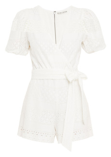 Alice + Olivia Woman Paulina Wrap-effect Broderie Anglaise Playsuit White