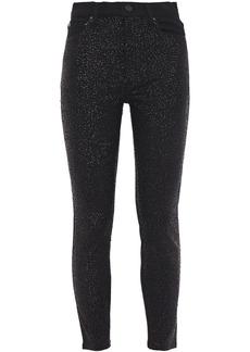Alice + Olivia Woman Sequin-embellished High-rise Skinny Jeans Black