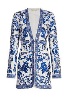 Alice + Olivia Chriselle Embroidered Longline Blazer